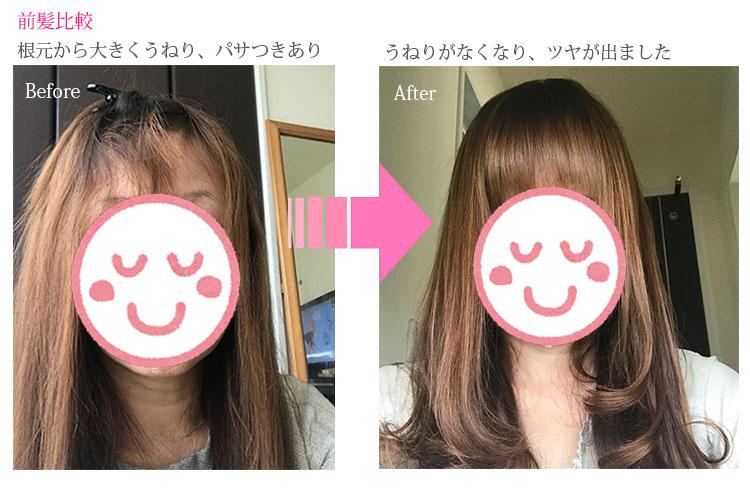 アレティ ヘアアイロン 使用前・使用後の比較画像