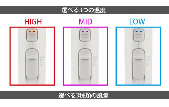 Nobby by TESCOM(ノビーバイテスコム)NIB3000・温度と風量ボタン