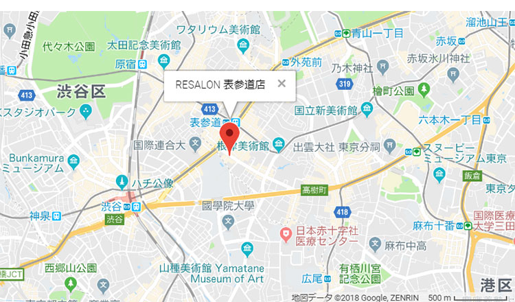 マツコ会議放映!髪質改善サロン ・RESALON(アールイーサロン)表参道店の地図
