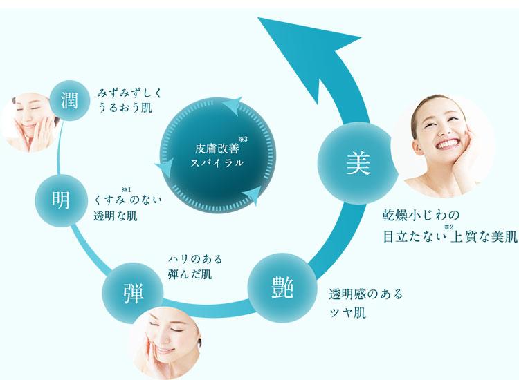 水分保持力の向上による肌状態の向上ステップ