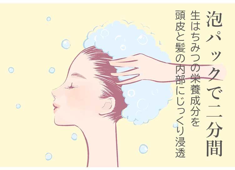 ハニーケアシャンプーの泡パック(イメージ)