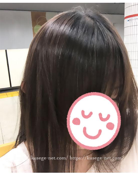 ミムラ・シックスマジッククリーム使用後の髪(頭頂部)