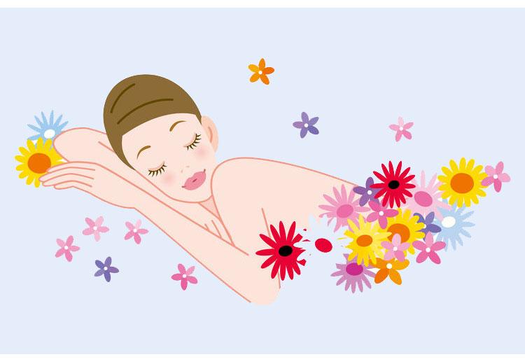 香りに包まれてリラックスする女性のイメージ